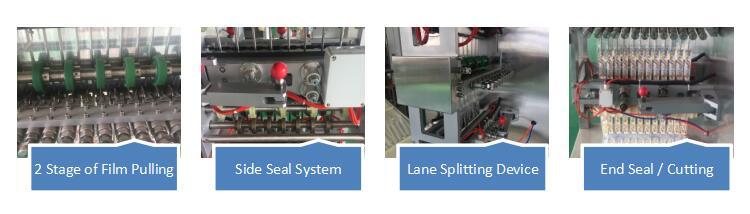 Dual Roll Intermittent Multi Lane 4 Side Sealed Granule Sachet Form Fill Seal Machine Series