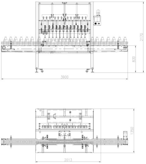 12 Heads Linear Type Piston Filling Machine