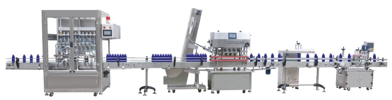 Automatic Inline Spindle Capping Machine with Elevator Type Waterfall Cap Sorter