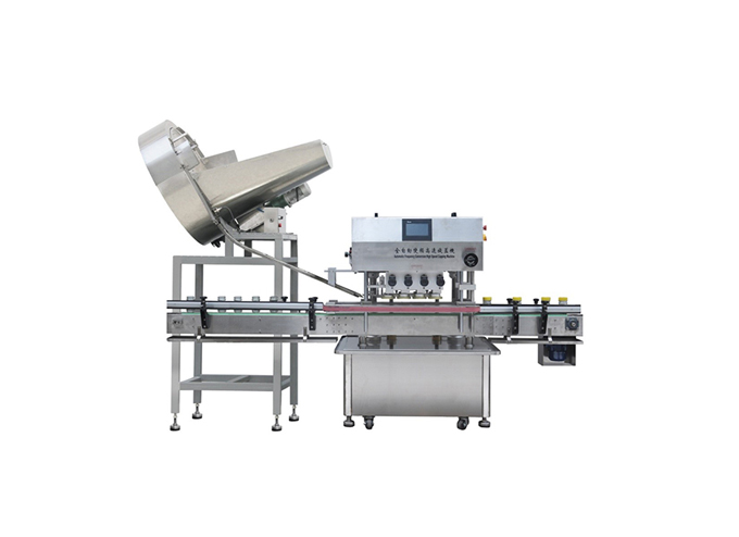 Automatic Inline Spindle Capping Machine with Vertical Wheel Cap Sorter