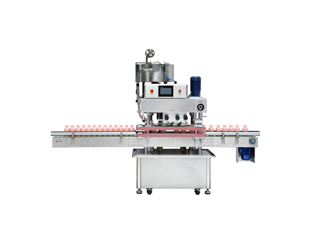 Automatic Inline Spindle Capping Machine with Vibratory Bowl Cap Sorter